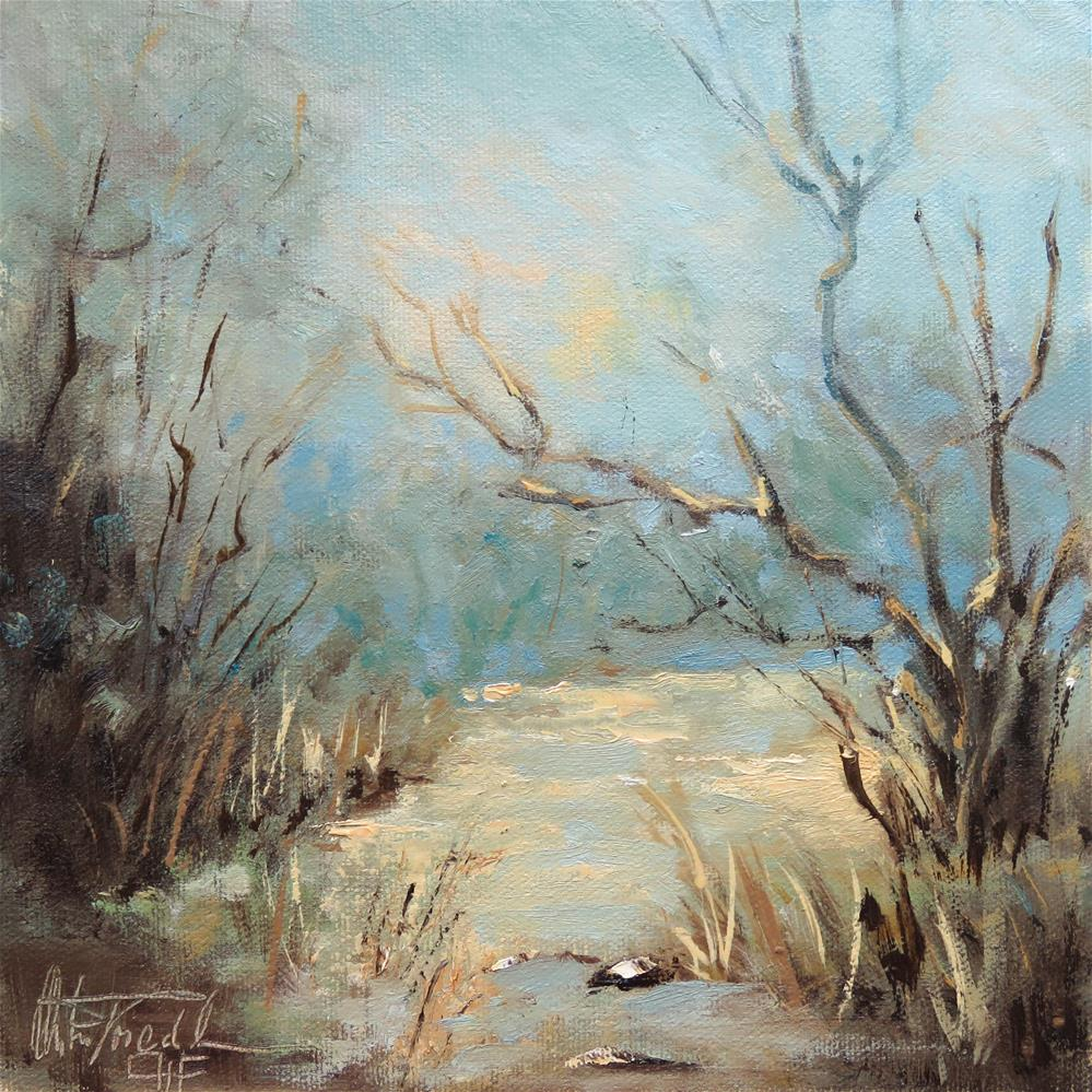 """Creek with snowmelt"" original fine art by Christa Friedl"