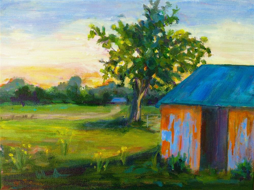 """Sunset at the Barn"" original fine art by Beth Carrington Brown"