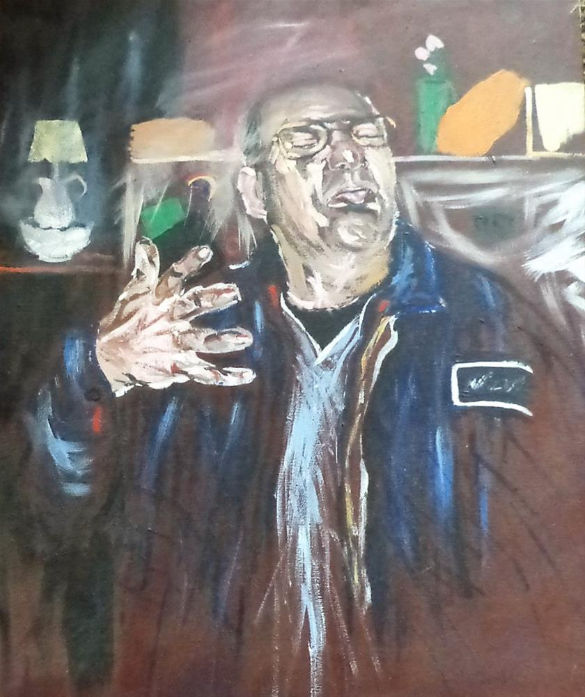 """Blue collar man making a face"" original fine art by tara stephanos"