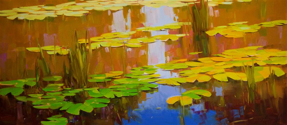 """Water lilies Original oil Painting Large size"" original fine art by V Y"