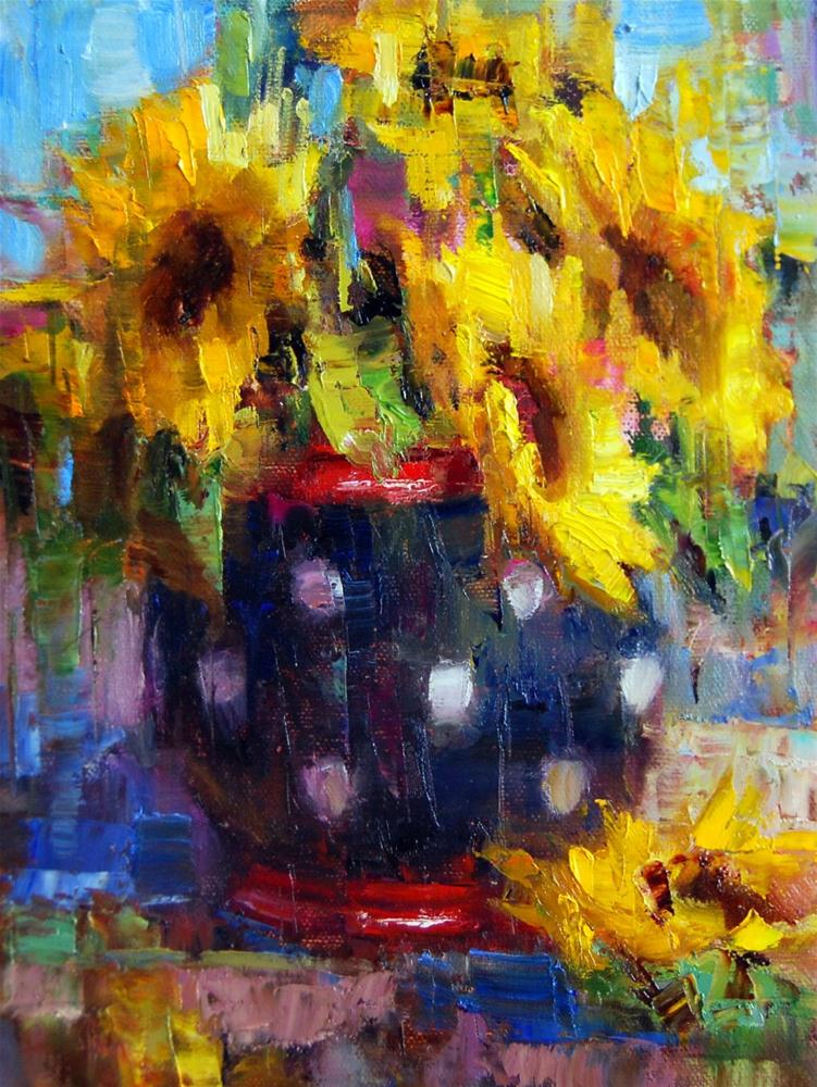 """Sunflowers and Polka-Dots"" original fine art by Julie Ford Oliver"