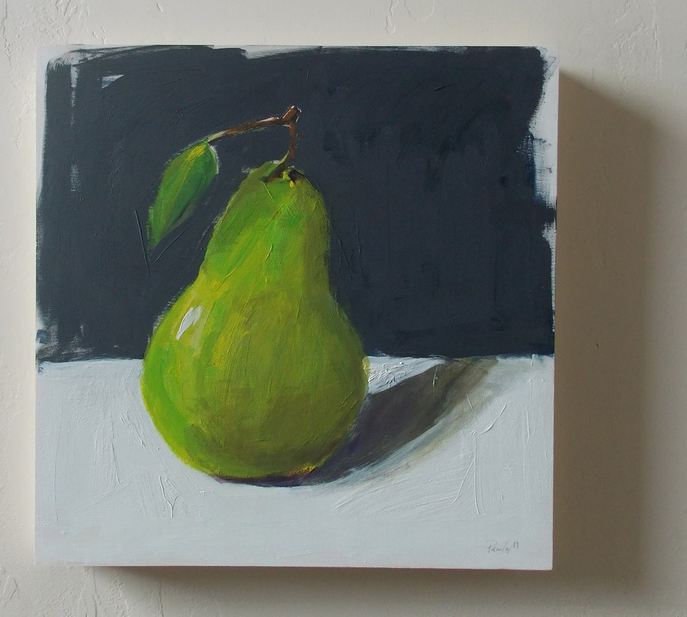 """Big Green Pear"" original fine art by Pamela Munger"