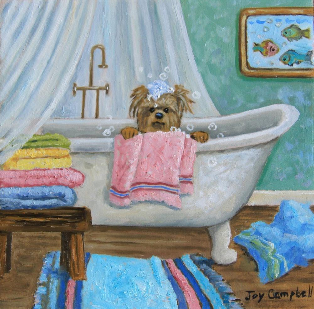 """A Puppy Bath"" original fine art by Joy Campbell"
