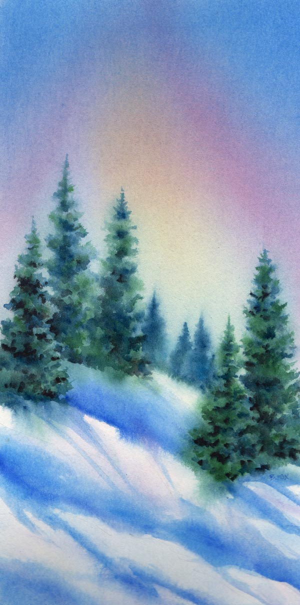 """TREE LINE watercolor landscape"" original fine art by Barbara Fox"