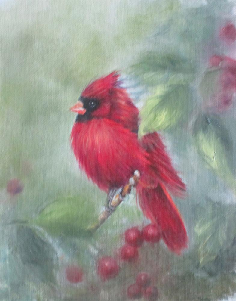 """Red Cardinal"" original fine art by Barbara Wagner"