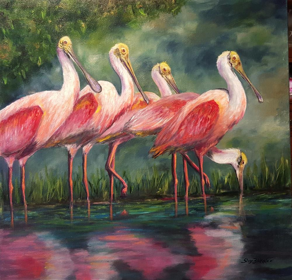 """Spoonbill Time"" original fine art by Sissy Blakslee"