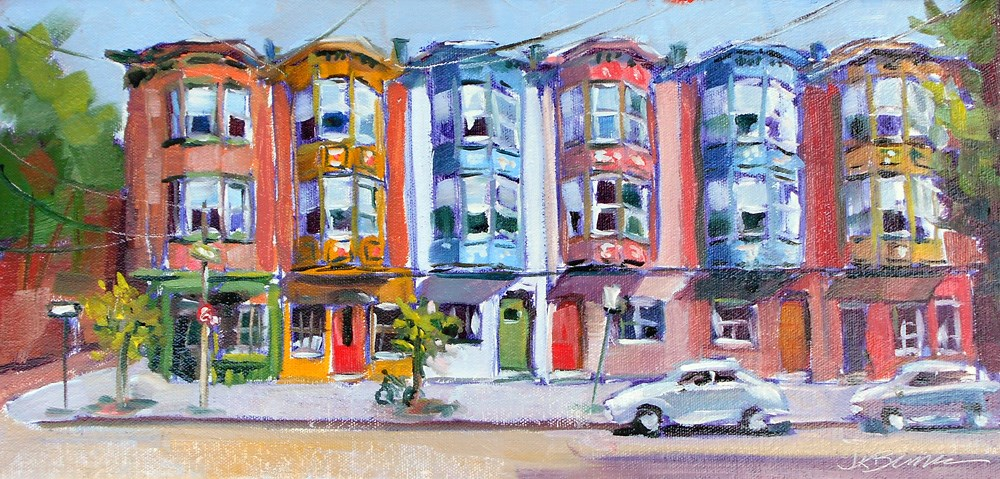 """Painted Ladies on Bainbridge Street"" original fine art by Jeanne Bruneau"