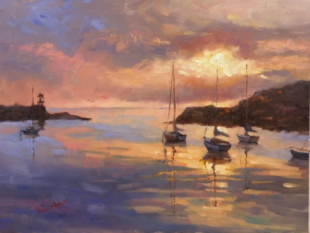 """First Light, Rockport Harbor, 12x16, oil on panel, paintings of Rockport Massachusetts, Maryanne J"" original fine art by Maryanne Jacobsen"