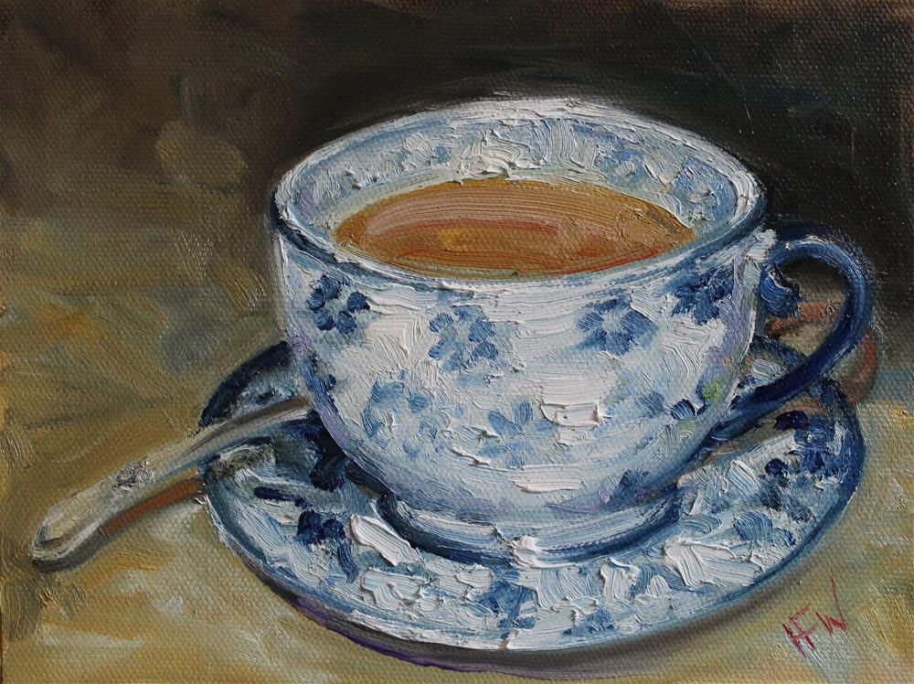 """Blue and White Cup"" original fine art by H.F. Wallen"