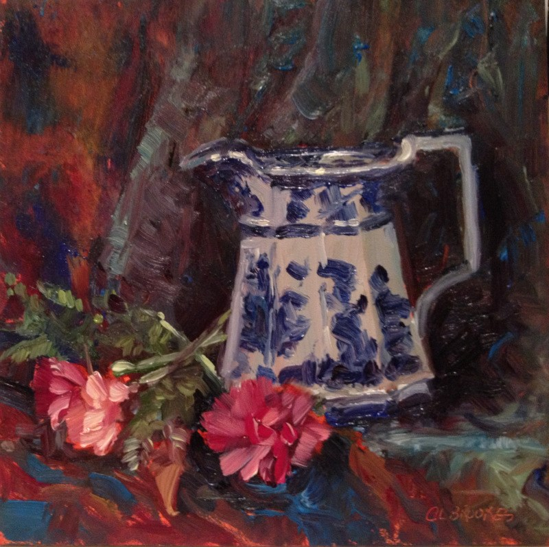 """""""Flow Blue and Carnations, Day 91"""" original fine art by Claudia L Brookes"""