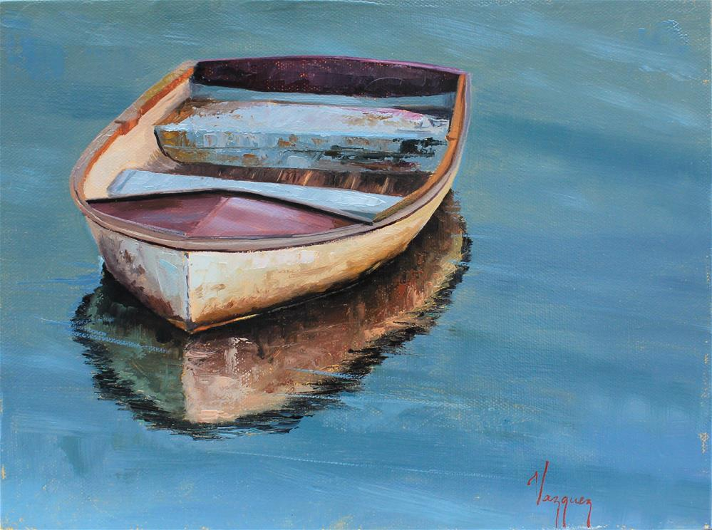 """Boat and it's reflection "" original fine art by Marco Vazquez"