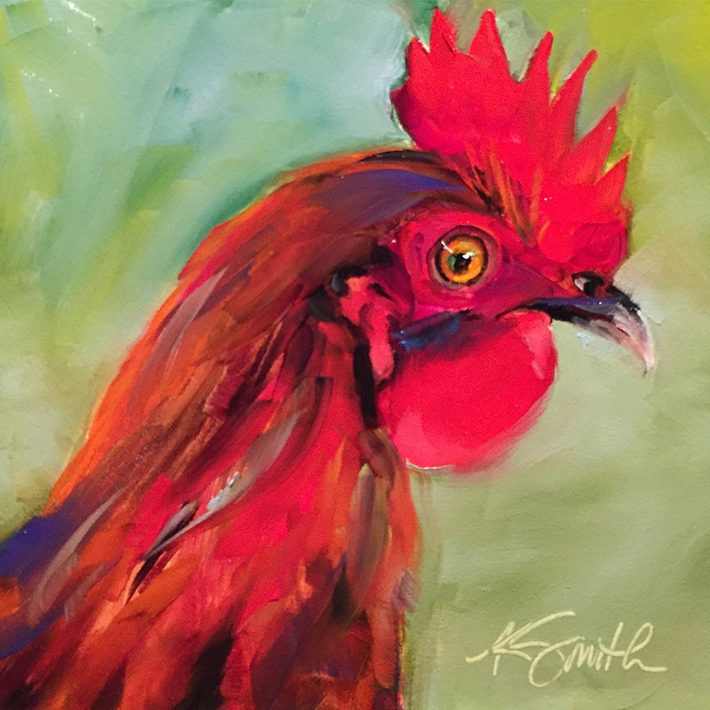"""red rooster"" original fine art by Kim Smith"