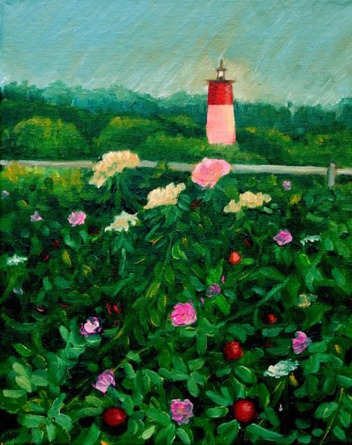 """Flowers and lighthouse at dusk"" original fine art by Hilary J. England"