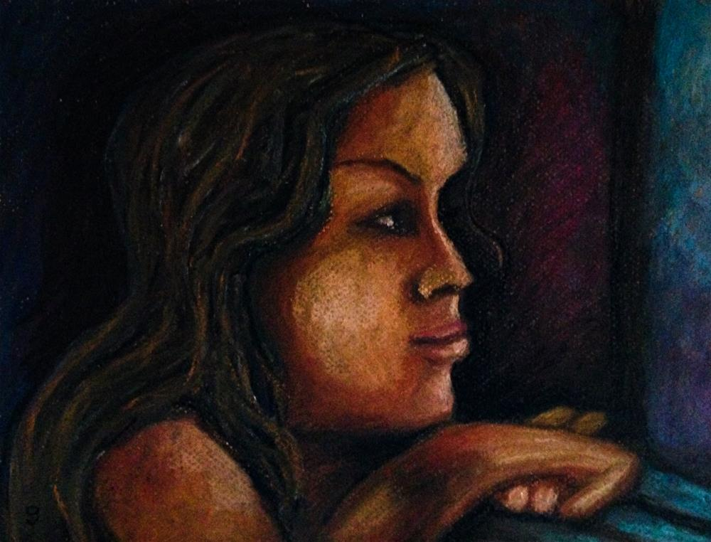 """Thinking (while looking ahead)"" original fine art by Giovanni Antunez"