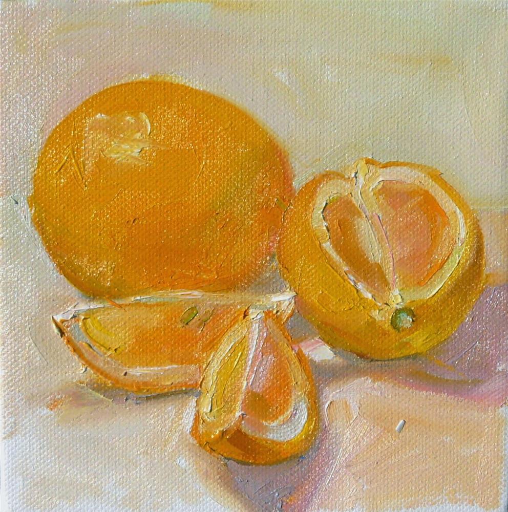 """""""Light Lemons,still life,oil on canvas,6x6,price$200"""" original fine art by Joy Olney"""