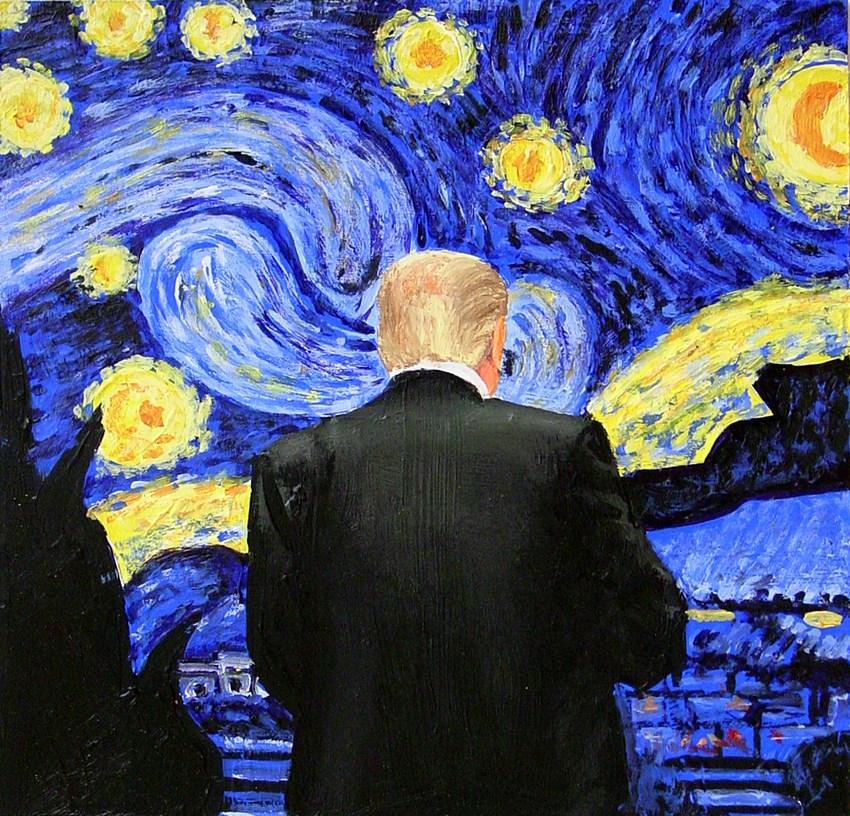 """Starry Night- Painting Of Trump Enjoying Painting By Vincent Van Gogh"" original fine art by Gerard Boersma"