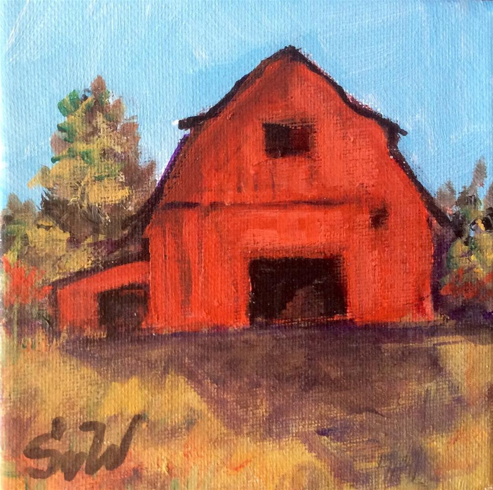 """Red Barn painting"" original fine art by Sonia von Walter"