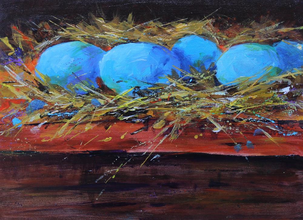 """Original acrylic nest blue egg still life painting"" original fine art by Alice Harpel"