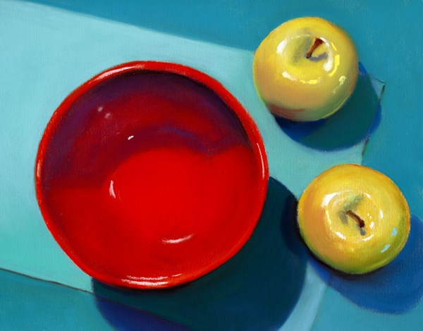 """red bowl and apples"" original fine art by Ria Hills"