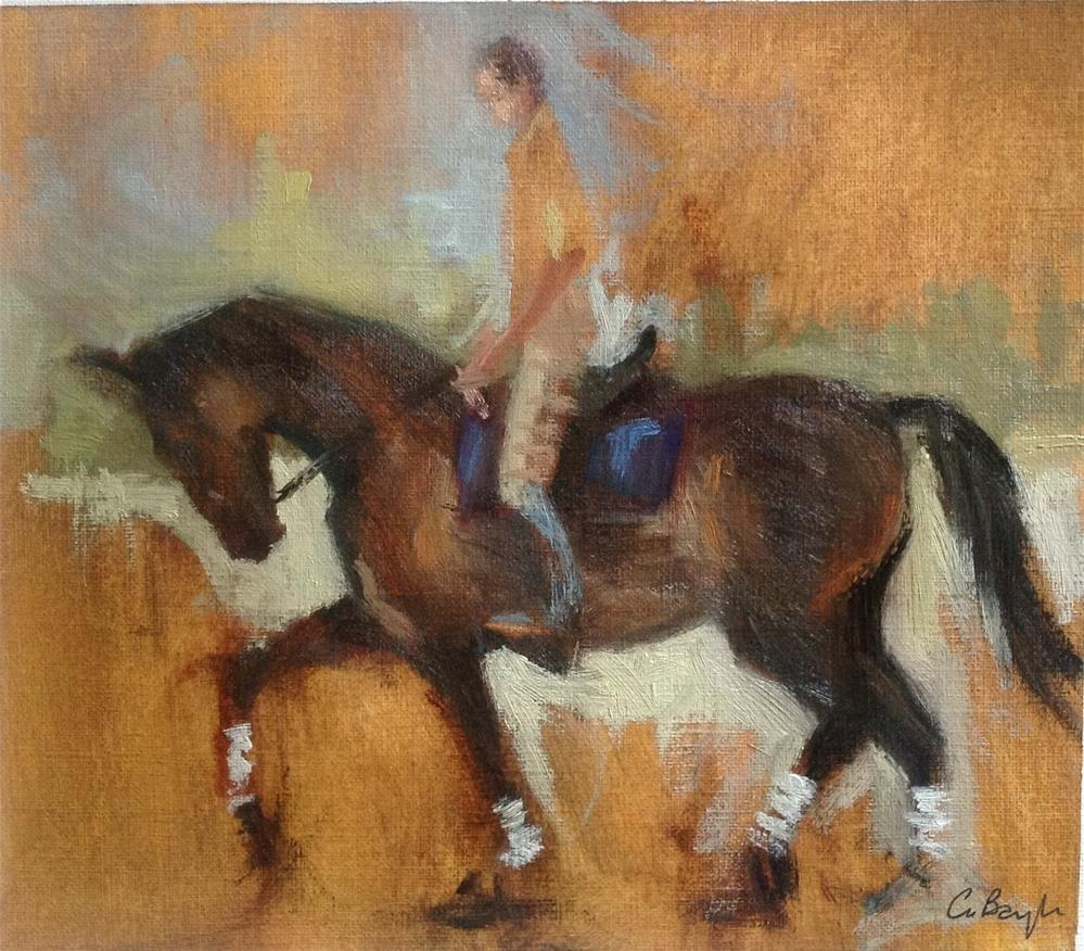 """Horse and rider"" original fine art by Christine Bayle"