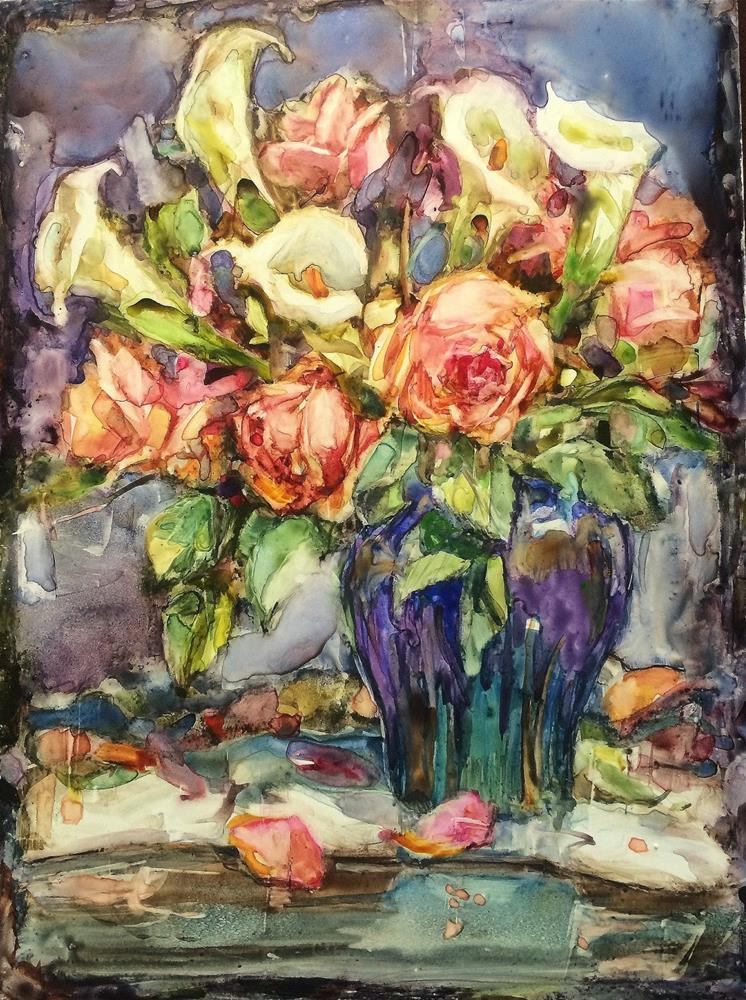 """Callas and Roses - Correction Made"" original fine art by Julie Ford Oliver"