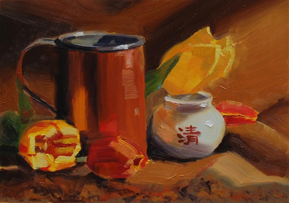 """Copper Cup, Incense Jar and Tulips"" original fine art by Susan McManamen"