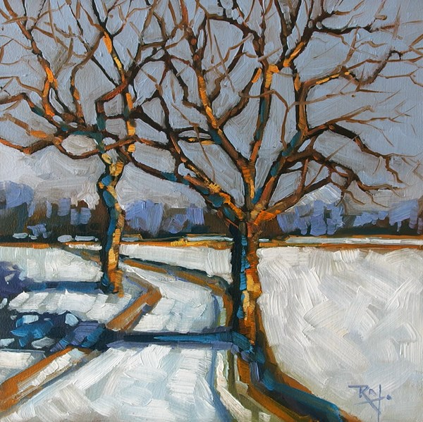"""No 700 Throught the trees"" original fine art by Robin J Mitchell"