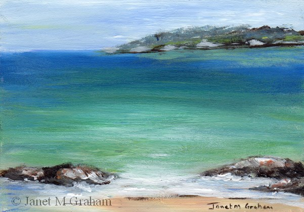 """Seascape 3 ACEO"" original fine art by Janet Graham"