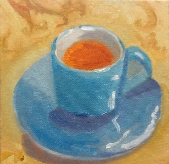 """""""Tea for You"""" original fine art by Peggy Schumm"""