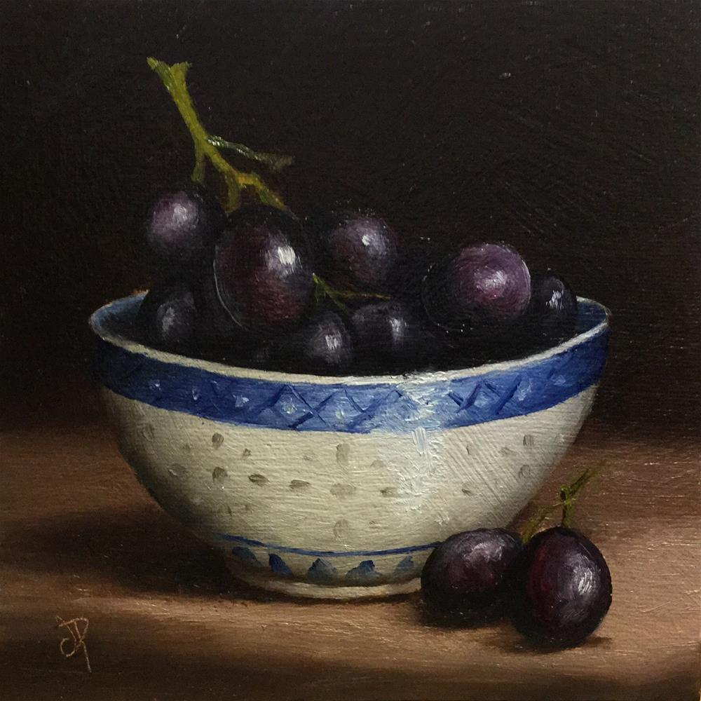 """bowl of grapes"" original fine art by Jane Palmer"