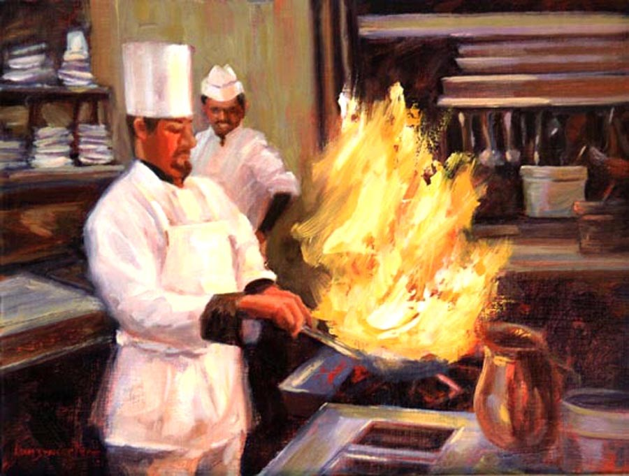 """FLAMBE'"" original fine art by Dj Lanzendorfer"