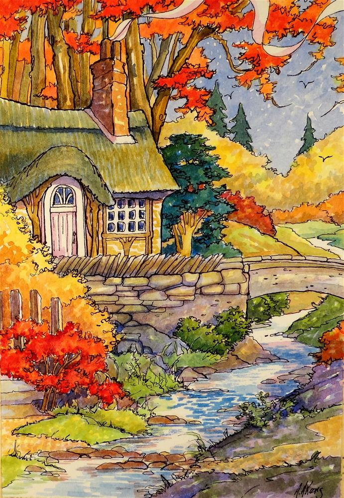 """""""The Brook That Runs Through Autumn Storybook Cottage Series"""" original fine art by Alida Akers"""