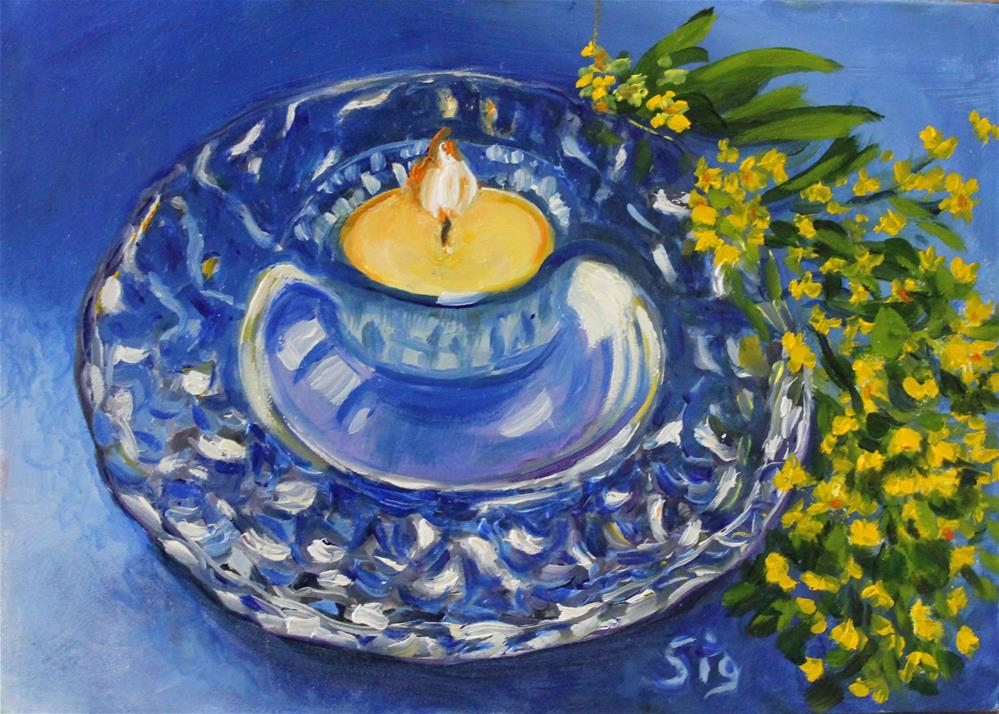 """Candle and flowers"" original fine art by Sigrid Victor"