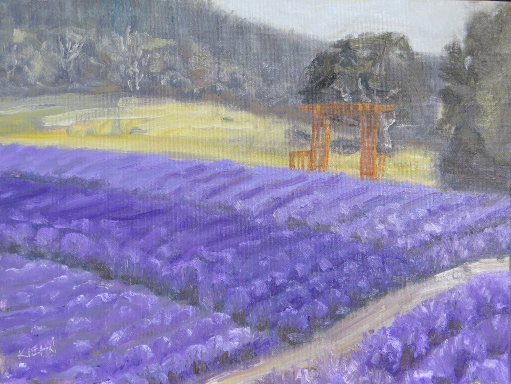 """The English Lavender Farm"" original fine art by Richard Kiehn"