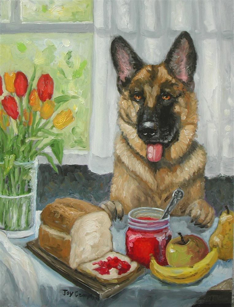 """A Doggie Snack"" original fine art by Joy Campbell"
