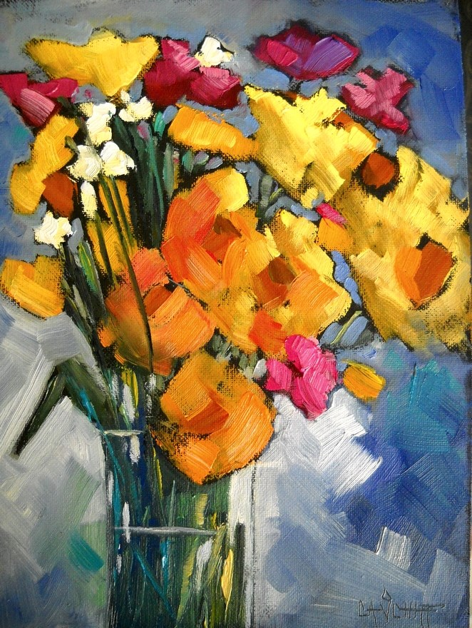 """Flower Painting, Daily Painting, Sunshine Mix by Carol Schiff, 8x6 Oil"" original fine art by Carol Schiff"