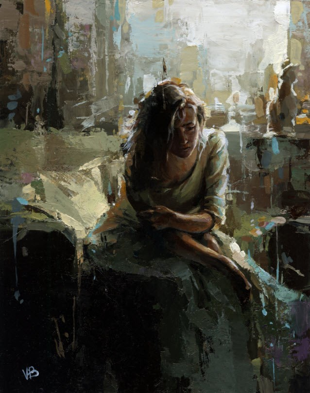"""""""The Waiting"""" original fine art by Victor Bauer"""