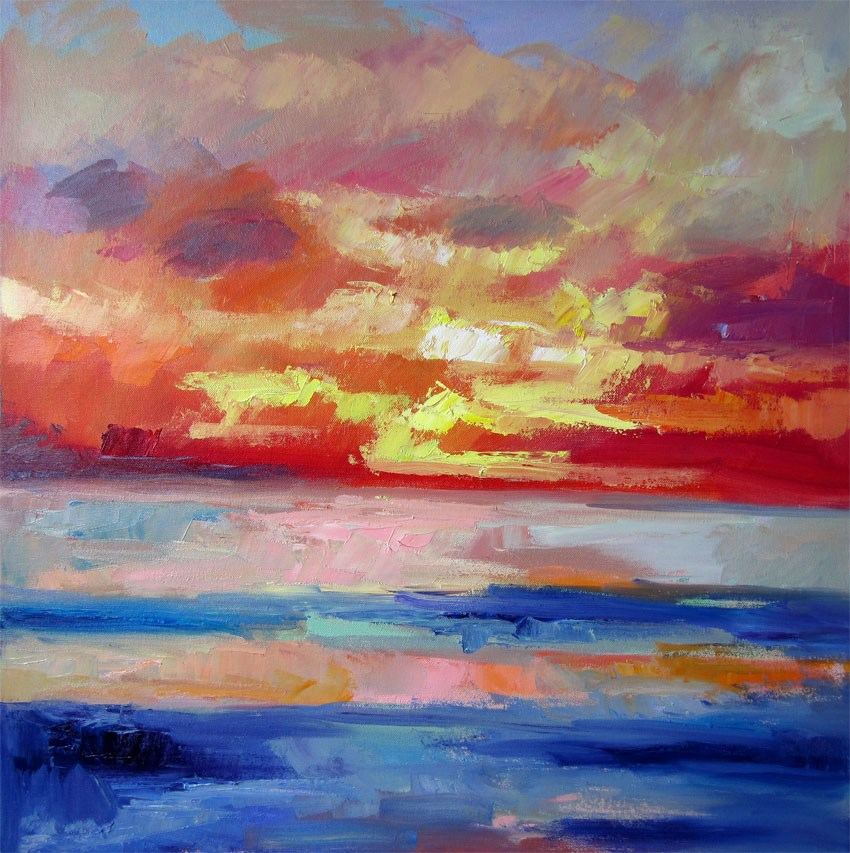 """Santa Barbara Sunset"" original fine art by Carol Steinberg"