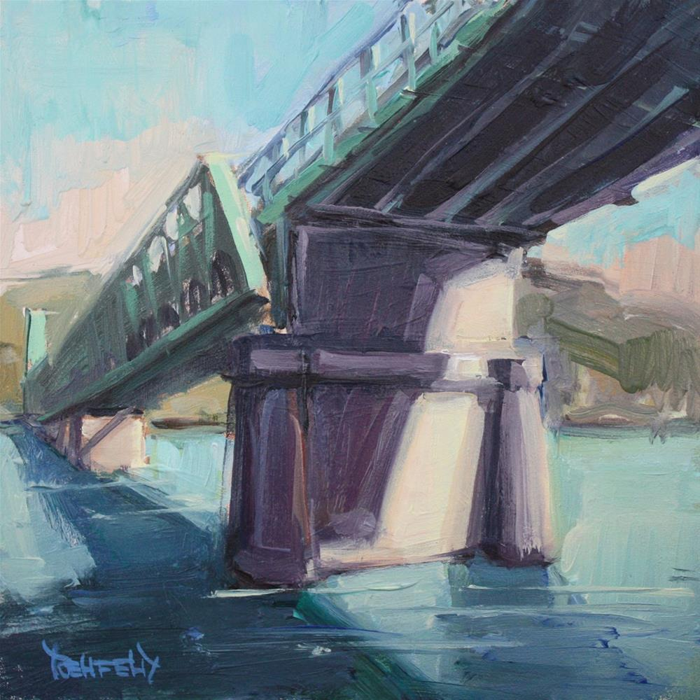 """Hood River Bridge Sunny Day"" original fine art by Cathleen Rehfeld"