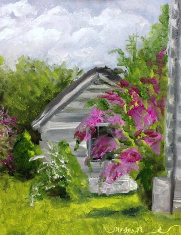 """Wynnewood Crepe Myrtles"" original fine art by Susan Elizabeth Jones"