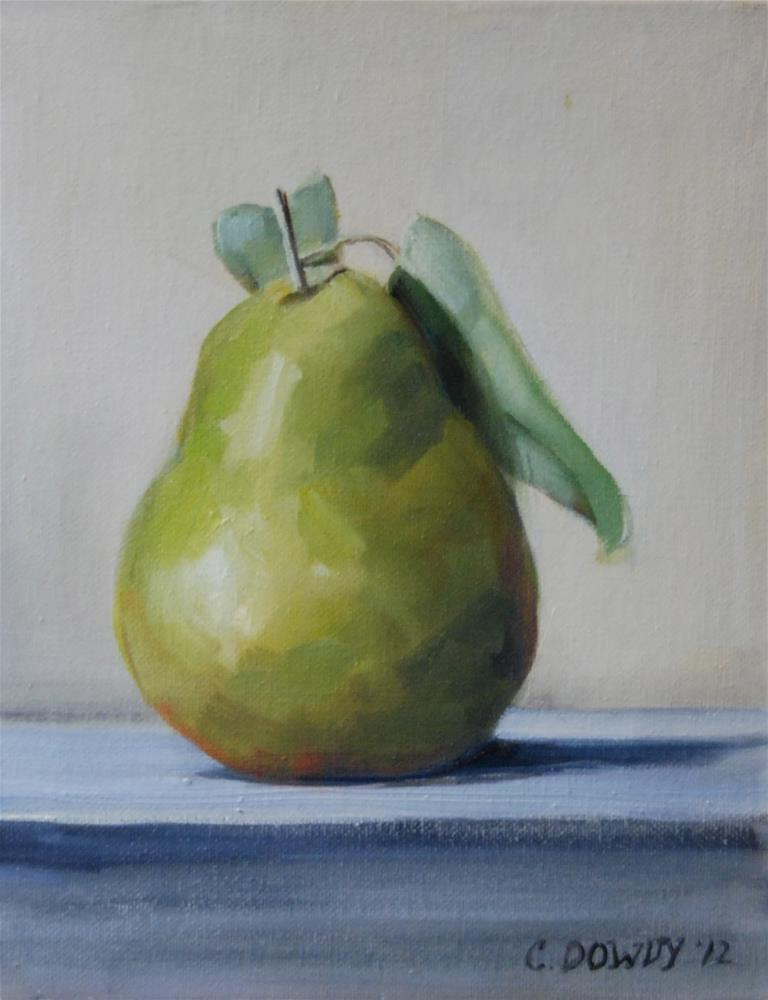 """Green Pear with Leaf"" original fine art by Christina Dowdy"
