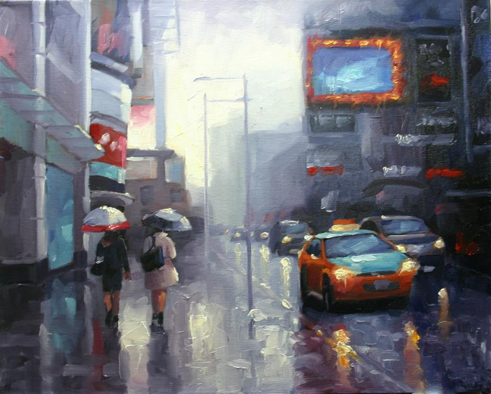 """Yonge Street Shoppers, April Rain"" original fine art by Catherine Jeffrey"
