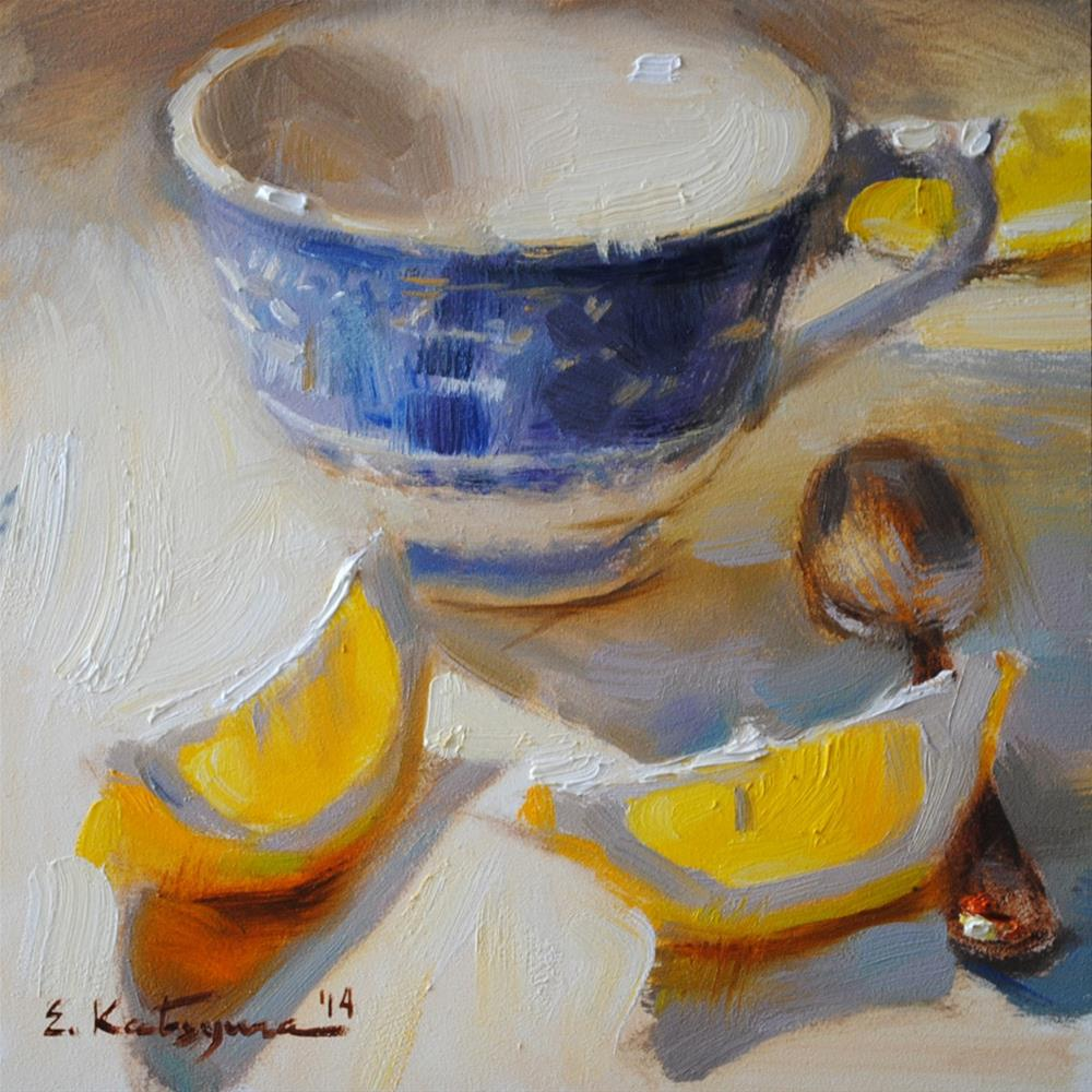 """Cup, Spoon and Lemons"" original fine art by Elena Katsyura"