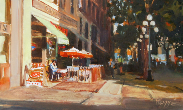 """Mario's  Pioneer Square oil painting by Robin Weiss"" original fine art by Robin Weiss"