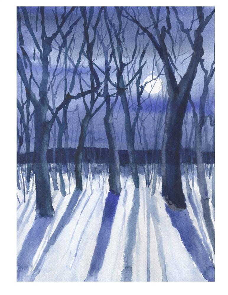 """Winter Moon Light"" original fine art by Suzanne Woodward"