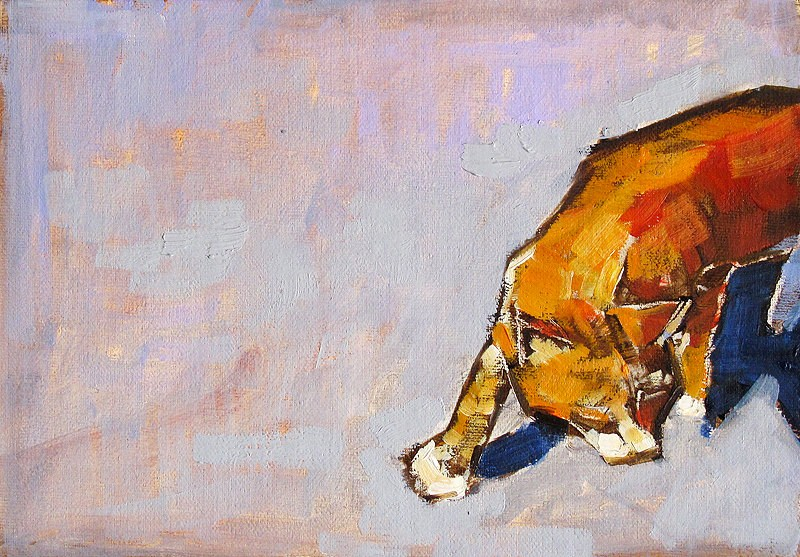 """Cat Painting Tuesday"" original fine art by Kevin Inman"