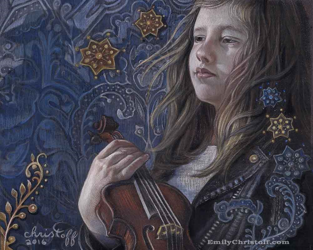 """Listening to Copeland"" original fine art by emily Christoff-Flowers"