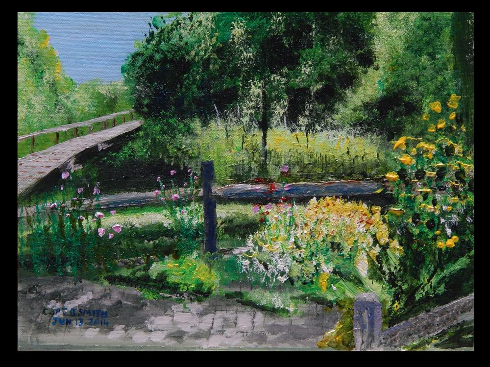 """Flowers at a Footbridge"" original fine art by Captain B Smith"