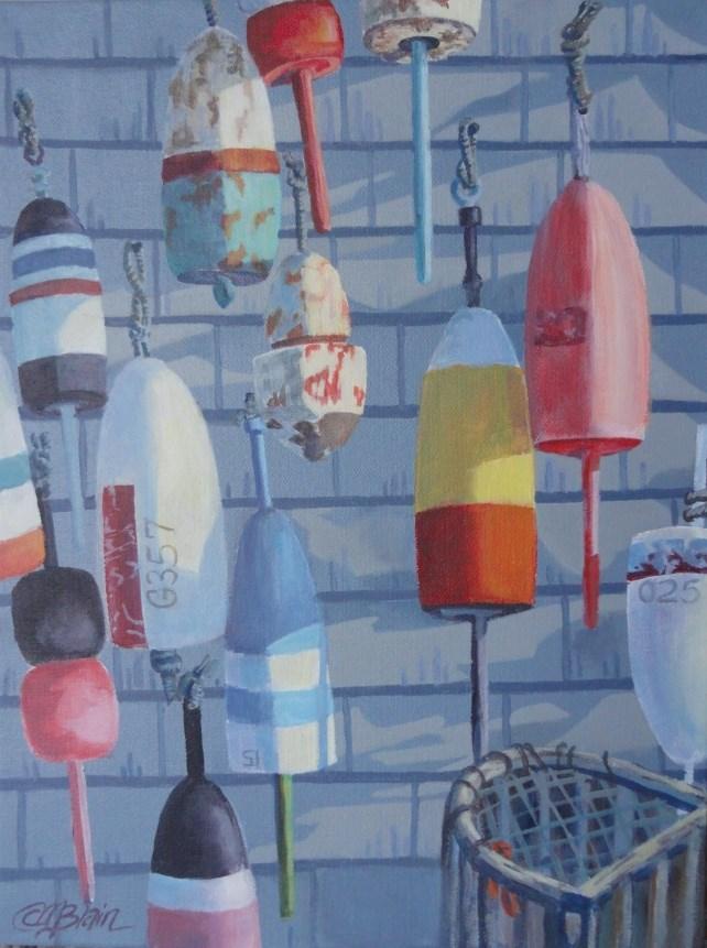 """Coastal Buoys"" original fine art by Christine Blain"