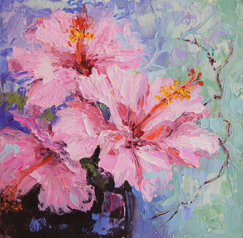 """Pink Hibiscus still life oil painting"" original fine art by Marion Hedger"